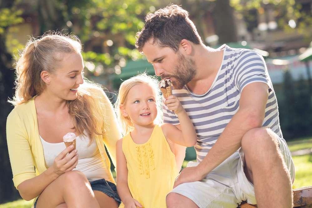 family eating ice cream from ice cream shop commercial ice cream machine